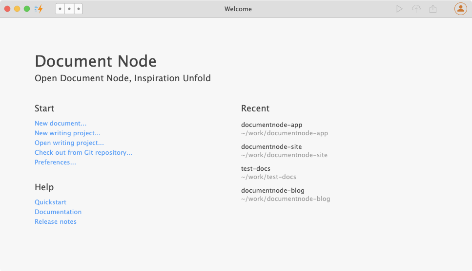 Document Node Welcome Page